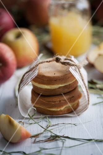 Waffles with an apple filling