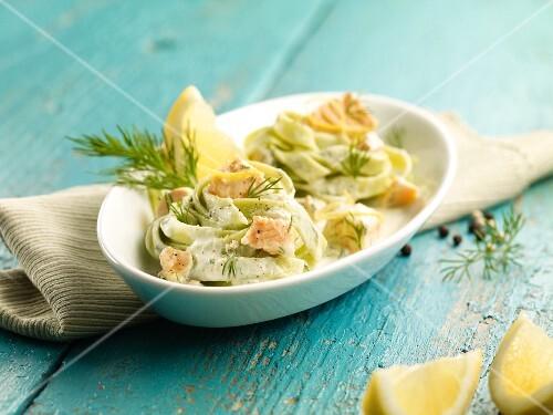 Tagliatelle verdi al salmone (spinach tagliatelle with a salmon sauce)