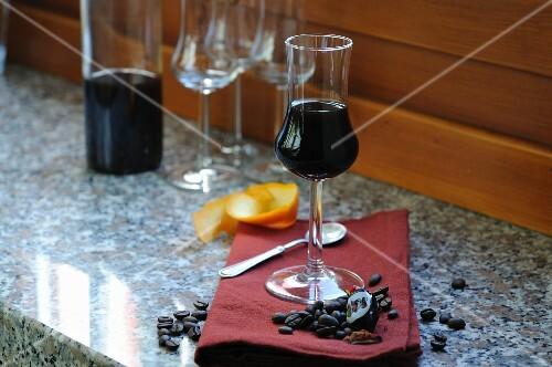 A glass of homemade coffee liqueur
