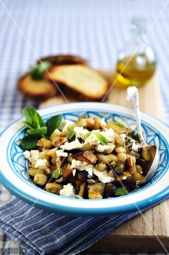 Roasted aubergine with feta cheese and fresh mint