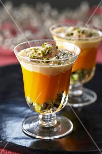 Pumpkin tiramisu with pistachio nuts