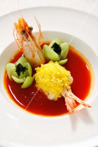 Abalone und Garnele mit Paksoi in Sauce (China)