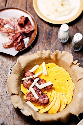 Spelt pie with butternut squash, brebis and bacon (unbaked)