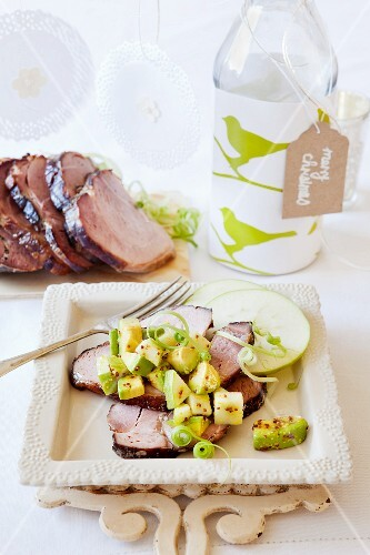 Glazed ham with apple and avocado salsa for Christmas dinner