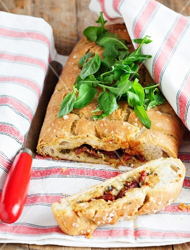 Focaccia stuffed with dried tomatoes