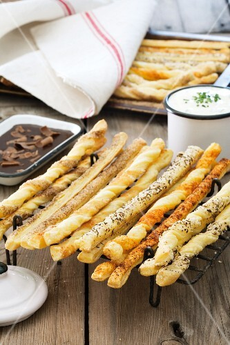 Fresh pastry straws in assorted flavours; served with chocolate and garlic dips
