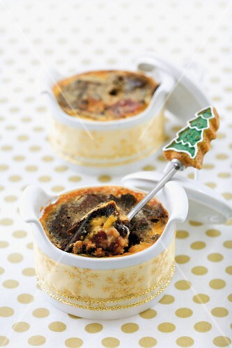 Bread and butter pudding made with Christmas cake