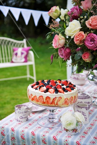 Berry trifle for a Jubilee party (England)