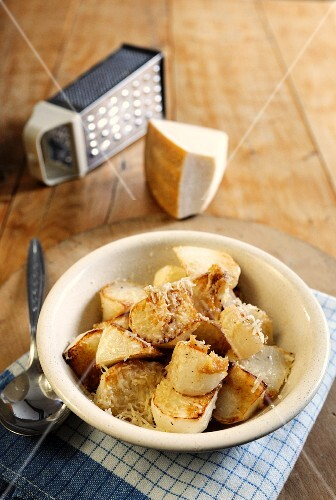 Roasted turnip with Parmesan cheese