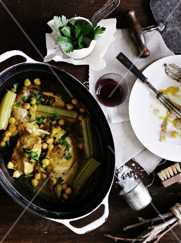 Braised rabbit with chickpeas and celery
