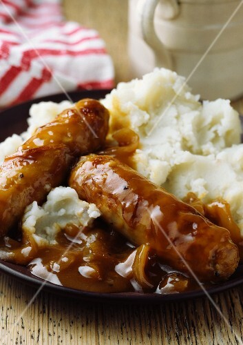 Sausage and potatoes with gravy