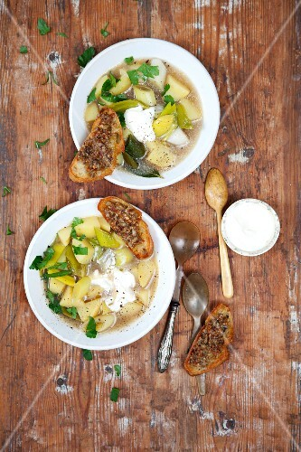 Leek and potato soup with porcini mushroom crostini