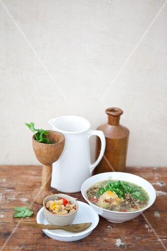 Lentil soup and onion chutney