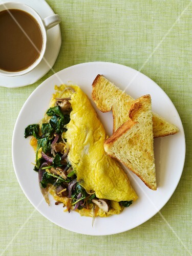 Veggie Omelet with Toast and Coffee; From Above