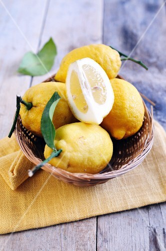 A basket of organic lemons from the Amalfi coast (Italy)