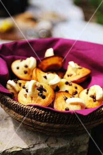 Mini chocolate chip muffins decorated with banana slices