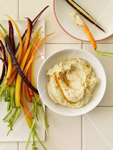 Hummus with Sliced Multi-Colored Carrots