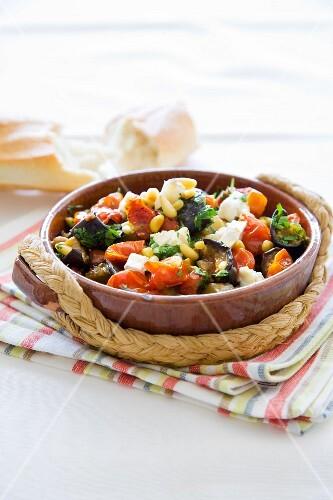 Aubergine and tomato salad