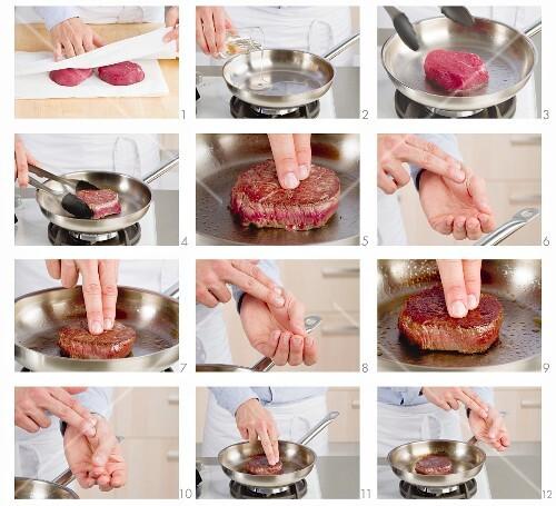 Filetsteaks richtig braten (Garstufe mit Handballentest prüfen)