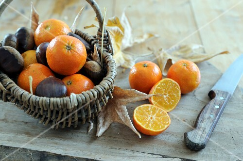 Basket of Clementines with chestnuts