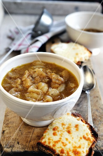 Onion soup with melted Fontina cheese on toast