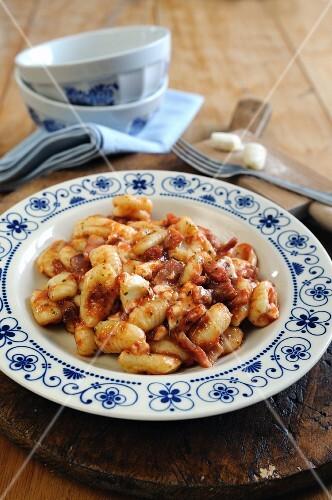 Gnocchi with a tomato, pancetta and taleggio cheese sauce