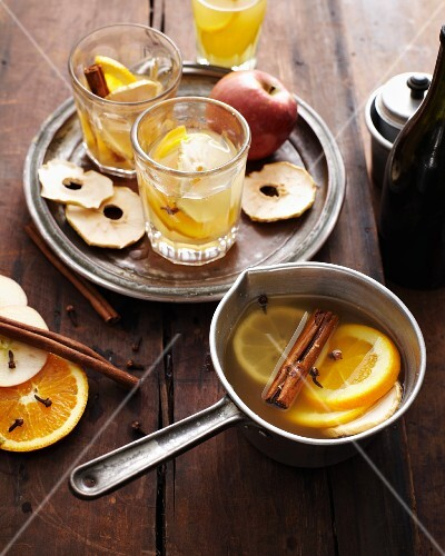 Glasses of mulled cider