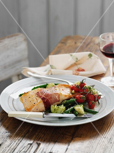 Plate of salmon with pesto potatoes
