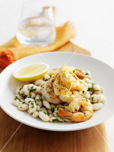 Plate of prawns and white beans