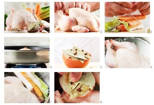 Hühnersuppe vorbereiten