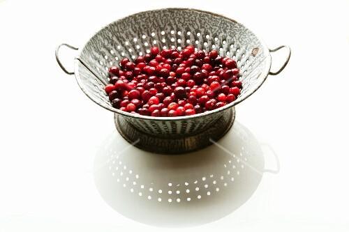 Fresh Cranberries in a Colander