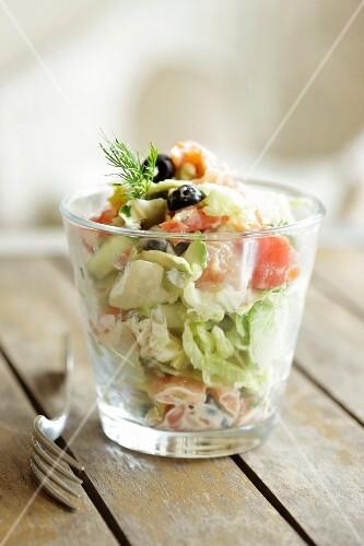 Salmon and vegetable salad
