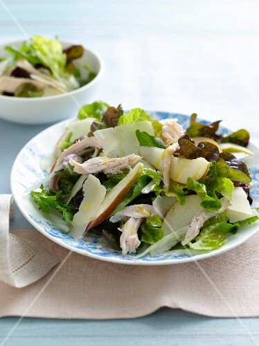 Plate of pear and chicken salad