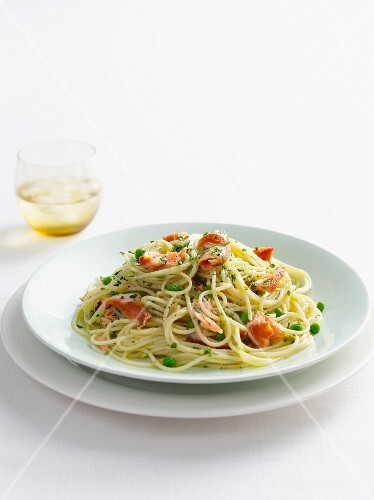 Plate of fish and pea pasta