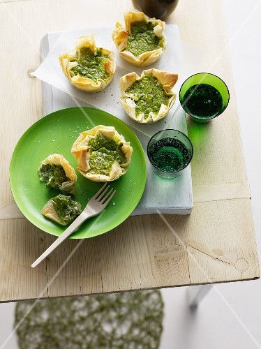 Plate of puff pastries with herbs