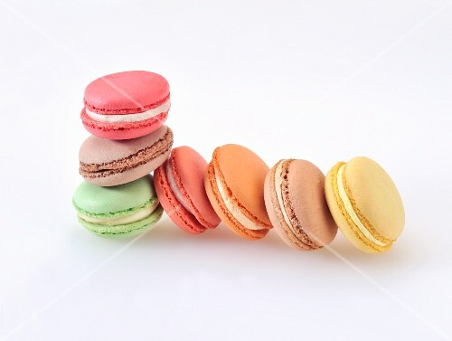 Colourful almond macaroons
