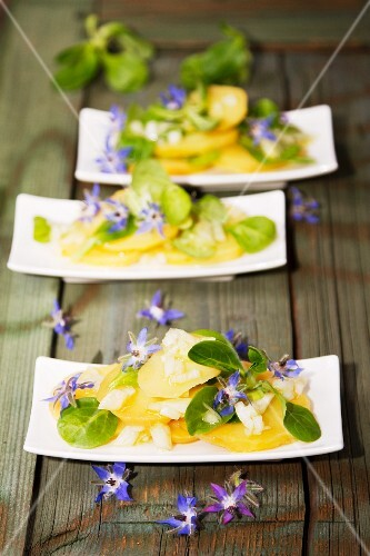 Potato salad with borrage flowers