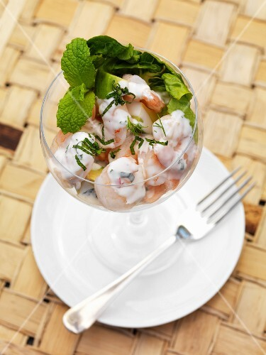 Shrimp cocktail with mint