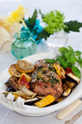 Roast pork chops with vegetables