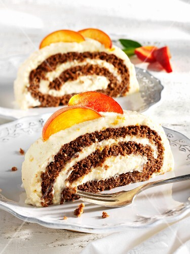 Chocolate and peach Swiss roll