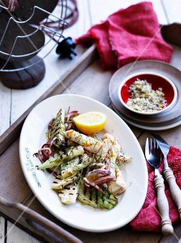 Grilled calamari with fennel