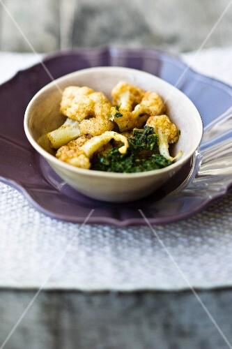 Fried cauliflower with a herb sauce