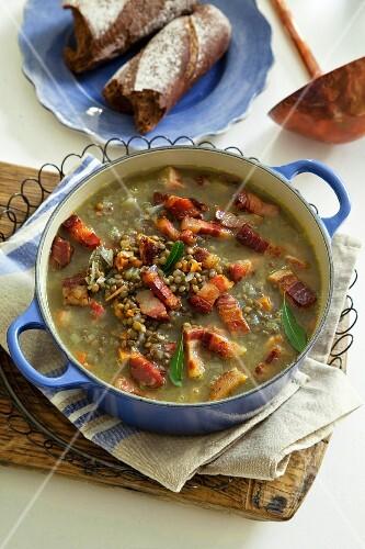 Puy lentil soup with bacon