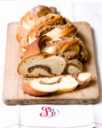 A bread plait with a nut filling