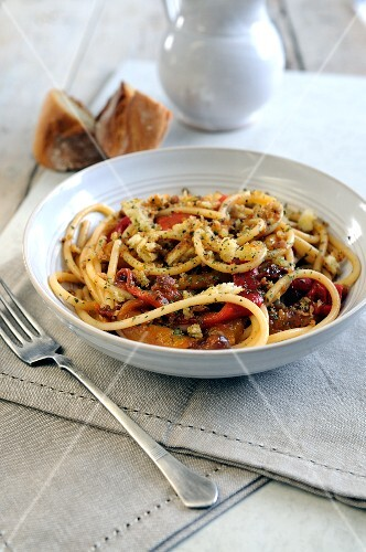 Bucatini pasta with roasted sweet bell peppers and herb and garlic crumbs