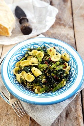 Orecchiette pasta with pan fried turnip tops and chili and garlic sauce