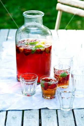 Strawberry and basil ice tea