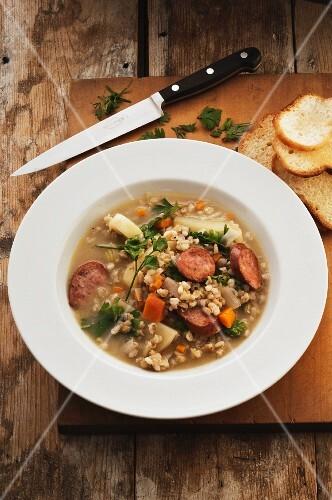 Barley soup with sausage (Germany)