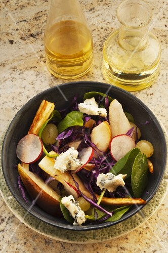 Parsnip and pear salad with blue cheese