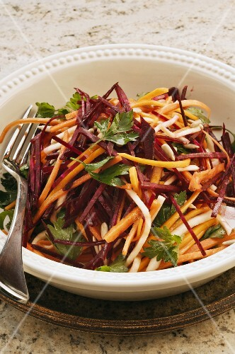 Raw carrot and beetroot salad